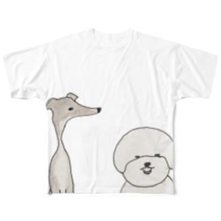 ビッションとグレイ Full graphic T-shirts