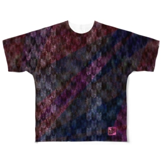「舞庭」Series * midareyagasuri purple Full graphic T-shirts