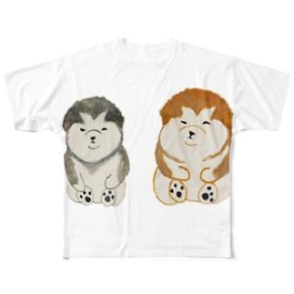コロりんとモコまる Full graphic T-shirts