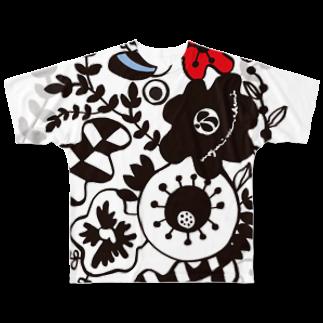 megumiillustrationのFLOWER GARDEN フルグラフィックTシャツ