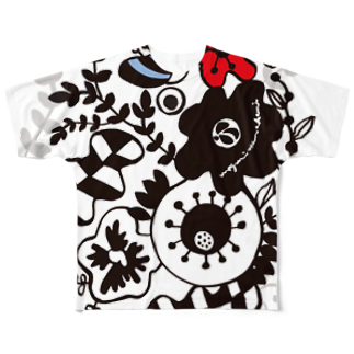 megumiillustrationのFLOWER GARDEN Full graphic T-shirts
