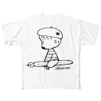 (わーくわくシリーズ)illustratorさん Full graphic T-shirts