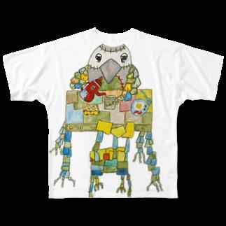 ねこぜや のROBOBO ヨウムの福ちゃんロボ 朝食 Full graphic T-shirts