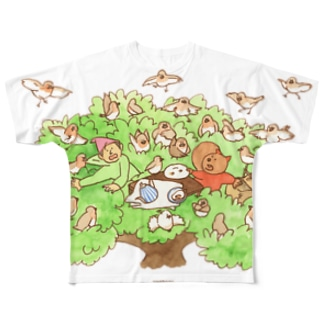 木の上のティータイム フルグラフィックTシャツ