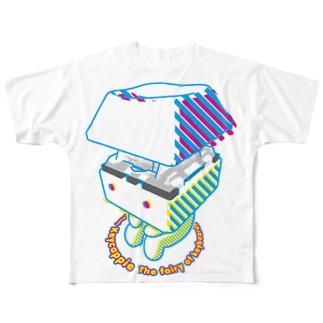 お座りキーキャッピー フルグラフィックTシャツ