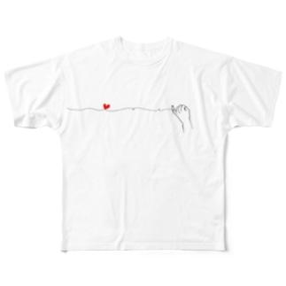 仲良しカップルの休日ご近所デート(ゴツゴツ手指タイプ) フルグラフィックTシャツ