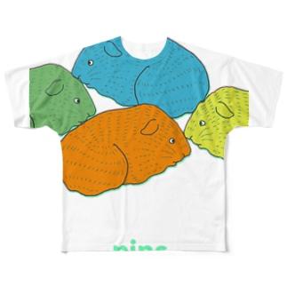 nins・2018名刺モルモット Full graphic T-shirts