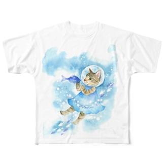 水中遊泳 フルグラフィックTシャツ