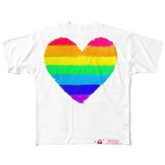 Rainbow Heart - レインボウハート Full graphic T-shirts