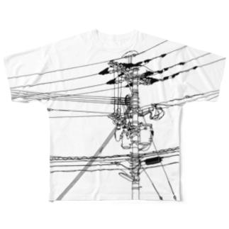 電柱 Full graphic T-shirts