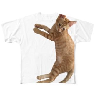 犬化してるニャンコ、明[猫] Full graphic T-shirts