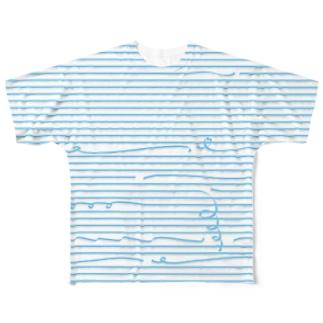 Blue Stripes 2 フルグラフィックTシャツ