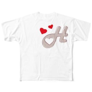 ハートと羽~ハートフルラビット~ Full graphic T-shirts
