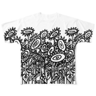 向日葵畑Ⅱ(前後2面プリント)  Full graphic T-shirts