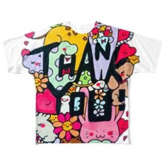 カクカク・サンキュー Full graphic T-shirts