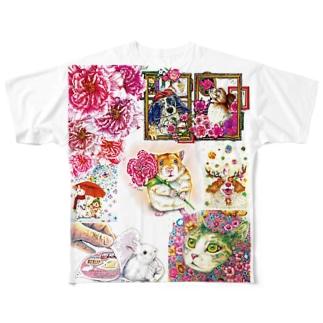 ボールペン画と可愛い動物 Full graphic T-shirts