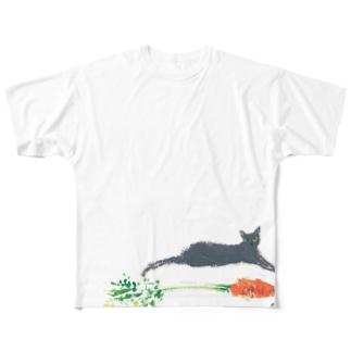 ニャンとニンジンくらべっこ Full graphic T-shirts