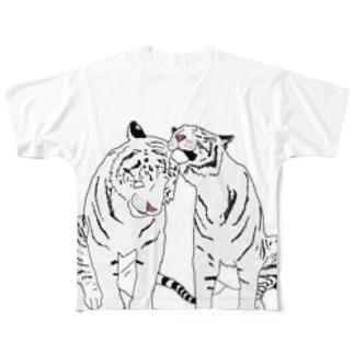仲良しホワイトタイガー❤️ Full graphic T-shirts