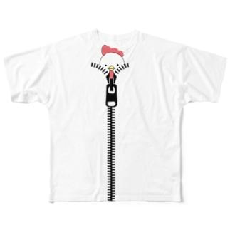 ジッパーからニワトリ Full graphic T-shirts