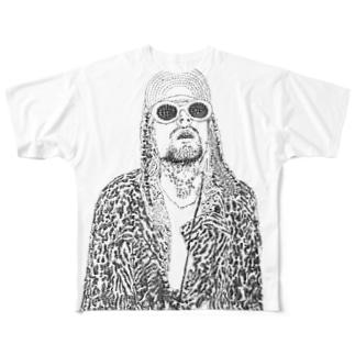 スーパーハンコカートコバーン Full graphic T-shirts