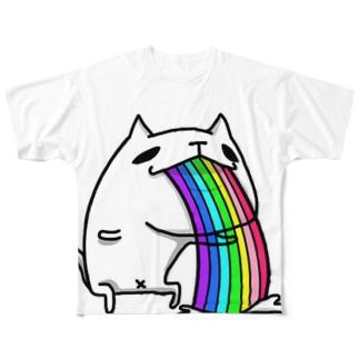 レインボーねこぜニャンコ Full graphic T-shirts