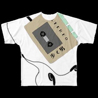 ひよこねこ ショップ 1号店のカセットプレーヤー(歩く男2) Full graphic T-shirts