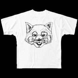 KIGAMINEの肉筆レッサーくん Full graphic T-shirts