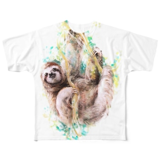 なまけもの フルグラフィックTシャツ