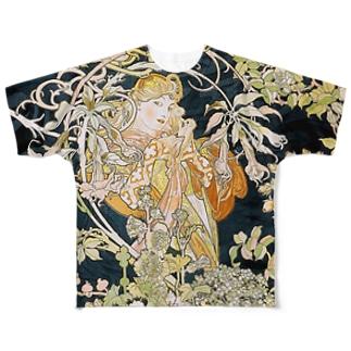 ミュシャ『 ヒナギクを持つ女性 』 Full graphic T-shirts