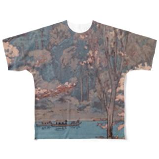 吉田博 桜八題 嵐山 Full graphic T-shirts