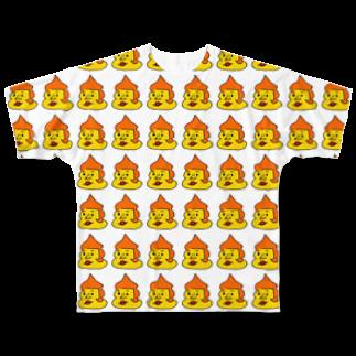 うめもと公式のいっぱいのだっぷんくん Full graphic T-shirts