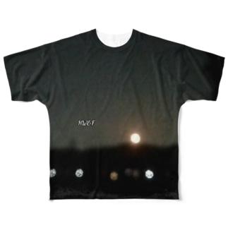 HW&Fと夜景写真の袖まで Full graphic T-shirts