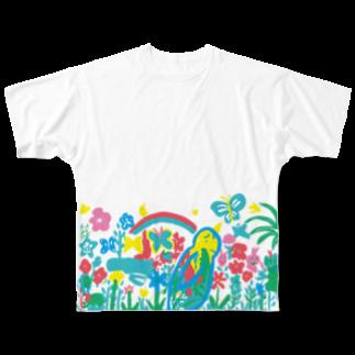 ツルマルデザインのお花畑 Full graphic T-shirts