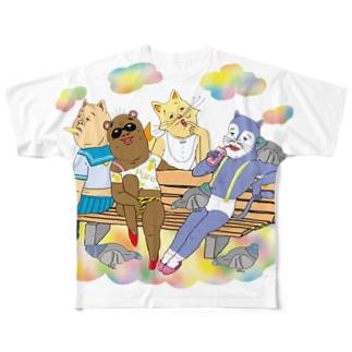こぶたぬきつねこ Full graphic T-shirts