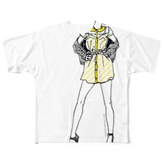 """""""Yellow"""" いけじょファッショニスタ Full graphic T-shirts"""