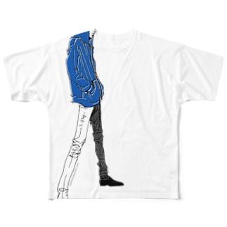 """""""Blue"""" いけめんファッショニスタ フルグラフィックTシャツ"""