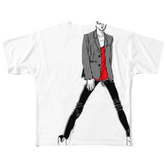 """Red"" いけめんファッショニスタ Full graphic T-shirts"