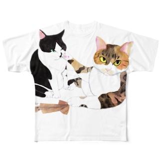 スルメの取り合い Full graphic T-shirts
