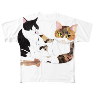 cheeのスルメの取り合い フルグラフィックTシャツ