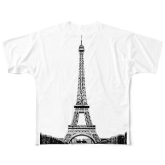 エッフェル塔 フルグラフィックTシャツ