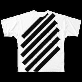 whaisonのSlashStripes フルグラフィックTシャツ
