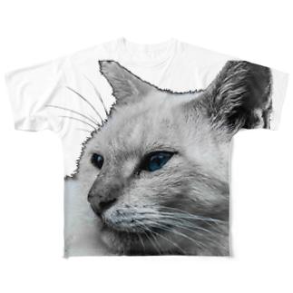 ねこ フルグラフィックTシャツ
