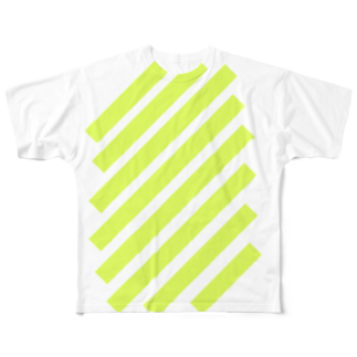 whaisonのsuzuri_fullgraphicT-template-XL_slash_lime_yellow_ フルグラフィックTシャツ