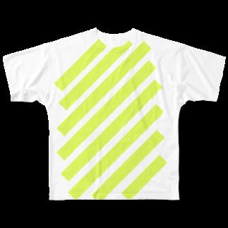 whaisonのsuzuri_fullgraphicT-template-XL_slash_lime_yellow_ フルグラフィックTシャツ