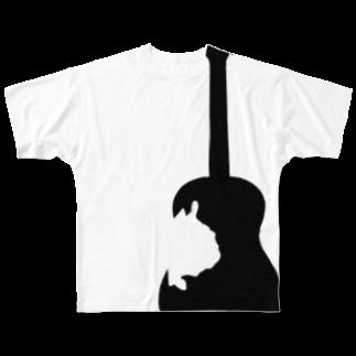 chicodeza by suzuriのフレンチブルドッグとギターのシルエット Full graphic T-shirts