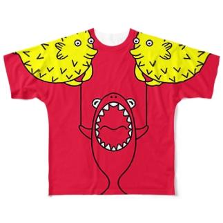 フグ風船とサメ(codycoby) フルグラフィックTシャツ