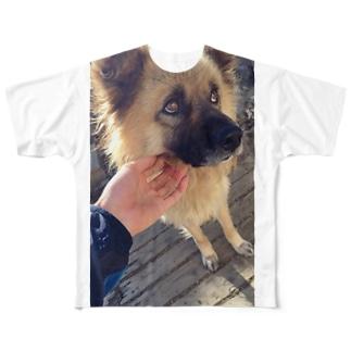 ポッキーさんの上目使い Full graphic T-shirts