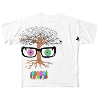 鳥と樹木 Full graphic T-shirts