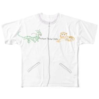 ドラゴンとタイガー フルグラフィックTシャツ
