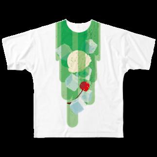 日下田のフォーリングクリームソーダ フルグラフィックTシャツ